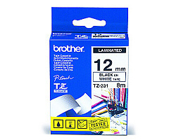 Páska BROTHER TZE-231 bílá / černá 12mm