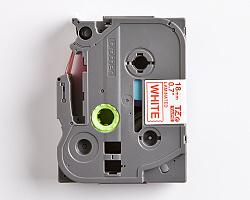Páska BROTHER TZE-242 bílá / červená 18mm