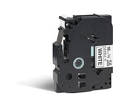 Páska BROTHER TZE-FX241 bílá / černá 18mm