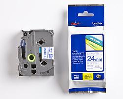 Páska BROTHER TZE-253 bílá / modrá 24mm